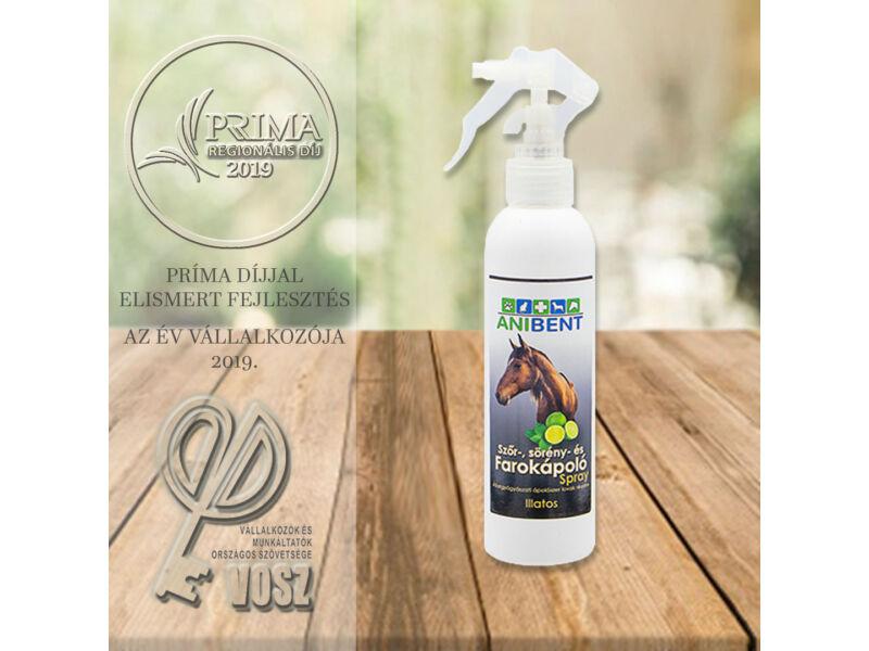 Szőr, sörény és farokápoló spray sötét szőrű lovak részére illatos